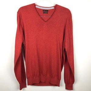 Massimo Dutti Orange V-Neck Sweater Large L